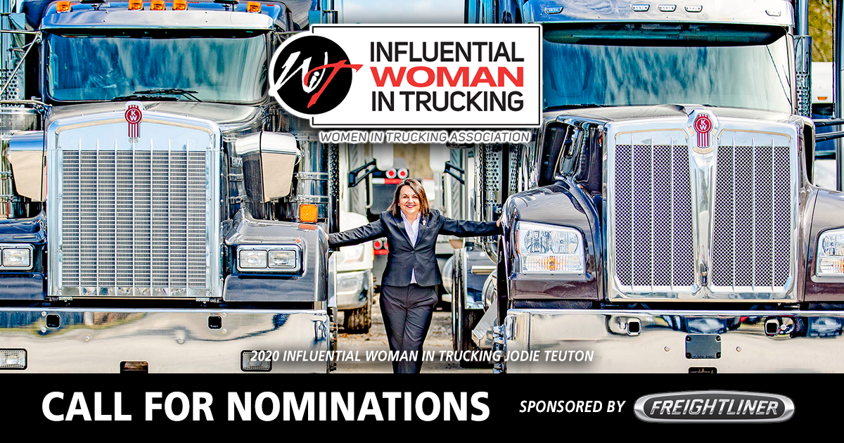 Nominations Now Open for 2021 Influential Woman in Trucking Award
